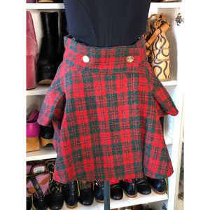Vivienne Westwood Vintage 1980s Harris Tweed Red and Hunter Green Tartan Riding Skirt