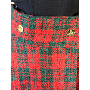 Vivienne Westwood Vintage 1991 Harris Tweed Red and Hunter Green Tartan Riding Skirt