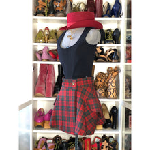 Load image into Gallery viewer, Vivienne Westwood Vintage 1991 Harris Tweed Red and Hunter Green Tartan Riding Skirt