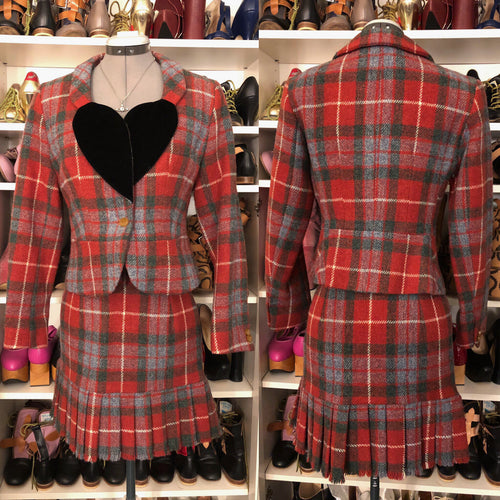 Vivienne Westwood Vintage 1991 Red Tartan Harris Tweed Love Jacket ラブジャケット Suit Set