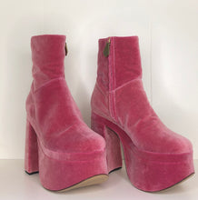 Load image into Gallery viewer, Vivienne Westwood Freddy Ankle Boots in Dusty Pink Velvet
