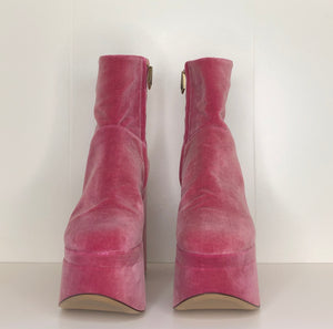 Vivienne Westwood Freddy Ankle Boots in Dusty Pink Velvet