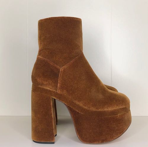 Vivienne Westwood Freddy Ankle Boots in Tan Velvet