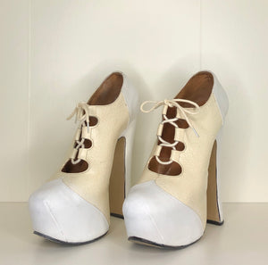 Vivienne Westwood Vintage 1990s Elevated Gillies in White and Cream Floral Leather