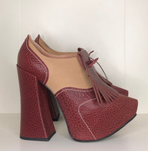 Load image into Gallery viewer, Vivienne Westwood Platform Golfs in Burgundy Mock Croc and Tan Leather