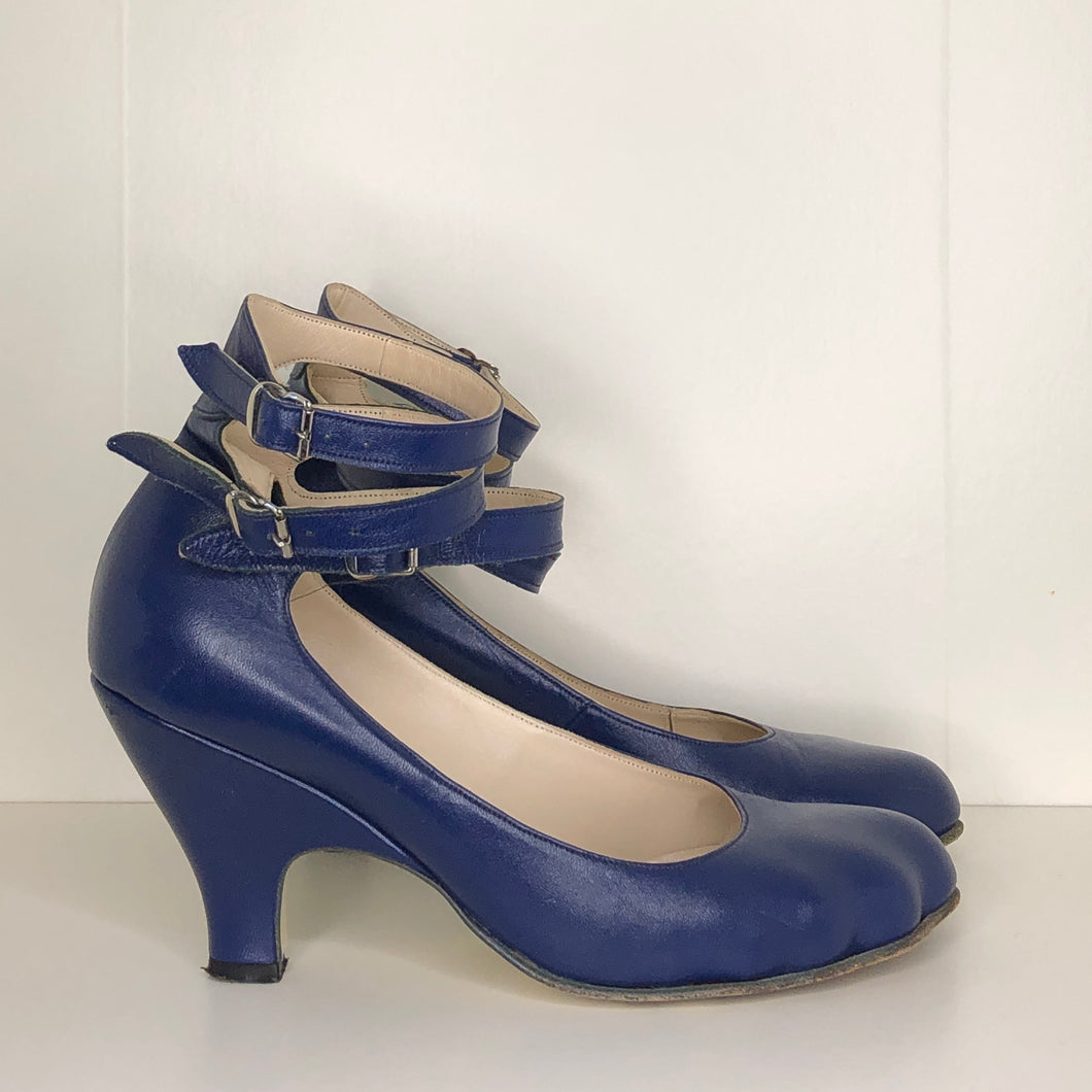 Vivienne Westwood Gold Label Low Heel Three 3 Strap Blue Heels Pumps