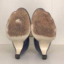 Load image into Gallery viewer, Vivienne Westwood Gold Label Low Heel Three 3 Strap Blue Heels Pumps