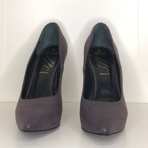 Vivienne Westwood Anglomania Eggplant Purple Mock Stingray Pointed Pumps