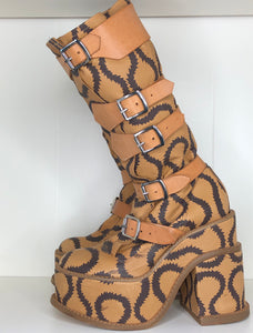Vivienne Westwood SS 2013 Gold Label Brown Squiggle Pirate Clompers Boots