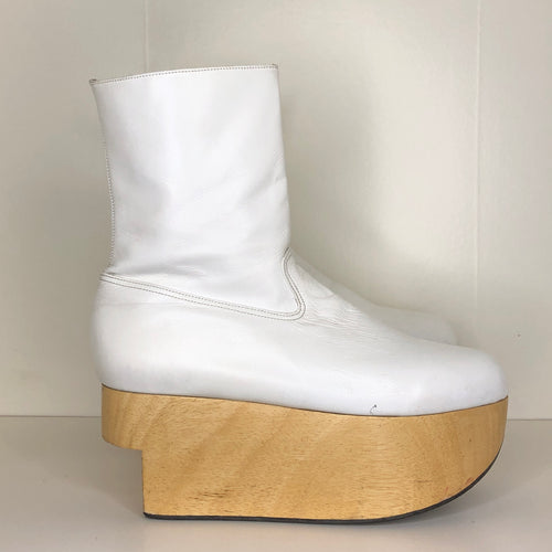 Vivienne Westwood Gold Label Rocking Horse Boots in White Kid Leather