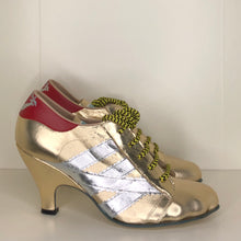 Load image into Gallery viewer, Vivienne Westwood Worlds End Tracey Trainers Gold Leather w/ Silver Stripes