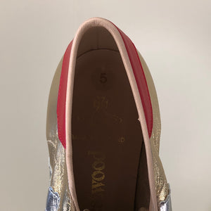 Vivienne Westwood Worlds End Tracey Trainers Gold Leather w/ Silver Stripes