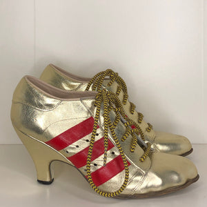 Vivienne Westwood Gold Label Tracey Trainers Gold Leather w/ Red Stripes