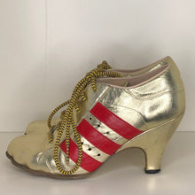 Load image into Gallery viewer, Vivienne Westwood Gold Label Tracey Trainers Gold Leather w/ Red Stripes