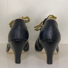 Load image into Gallery viewer, Vivienne Westwood Worlds End Tracey Trainers Black Leather w/ Black Patent Leather Stripes