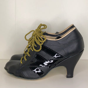 Vivienne Westwood Worlds End Tracey Trainers Black Leather w/ Black Patent Leather Stripes
