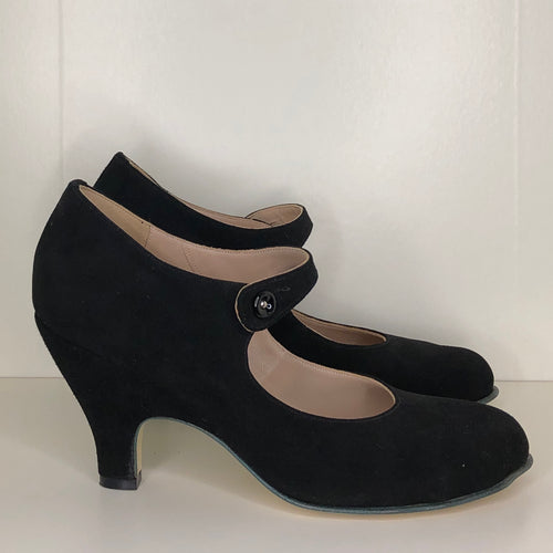 Vivienne Westwood Gold Label Mary Jane Black Suede Leather Low Heels