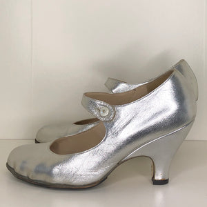 Vivienne Westwood Gold Label Mary Jane Silver Leather Low Heels
