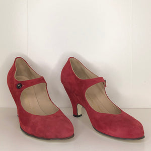 Vivienne Westwood Gold Label Mary Jane Red Suede Leather Low Heels