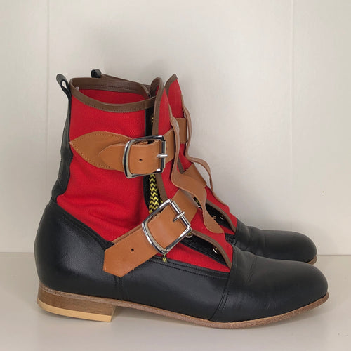 Vivienne Westwood Worlds End Gold Label Red Canvas Seditionary Boots