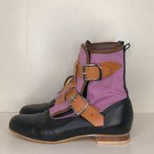 Load image into Gallery viewer, Vivienne Westwood Worlds End Gold Label Lilac Canvas Seditionary Boots
