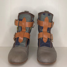 Load image into Gallery viewer, Vivienne Westwood Worlds End Climate Revolution Canvas Grey Leather Seditionary Boots