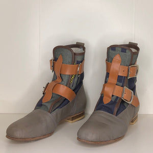 Vivienne Westwood Worlds End Climate Revolution Canvas Grey Leather Seditionary Boots