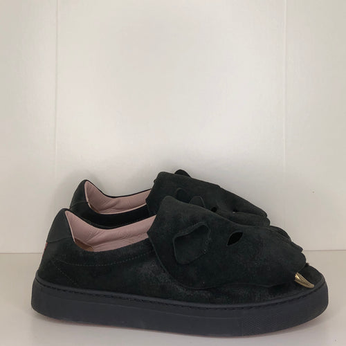 Vivienne Westwood Accessories Label Tiger Trainers in Black Suede