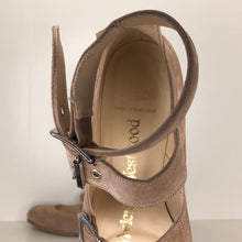 Load image into Gallery viewer, Vivienne Westwood Gold Label Roman 3-Strap Flat Sandal Shoes in Grey Suede