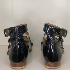 Vivienne Westwood Gold Label Roman 3-Strap Flat Sandal Shoes in Black Patent Leather