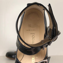 Load image into Gallery viewer, Vivienne Westwood Gold Label Roman 3-Strap Flat Sandal Shoes in Black Patent Leather