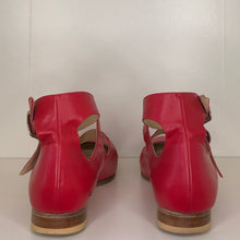Load image into Gallery viewer, Vivienne Westwood Gold Label Roman 3-Strap Flat Sandal Shoes in Red Leather