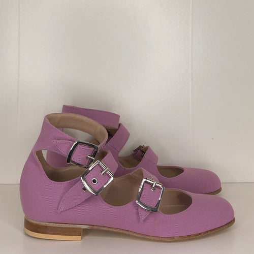 Vivienne Westwood Gold Label Roman 3-Strap Flat Sandal Shoes in Lilac Canvas