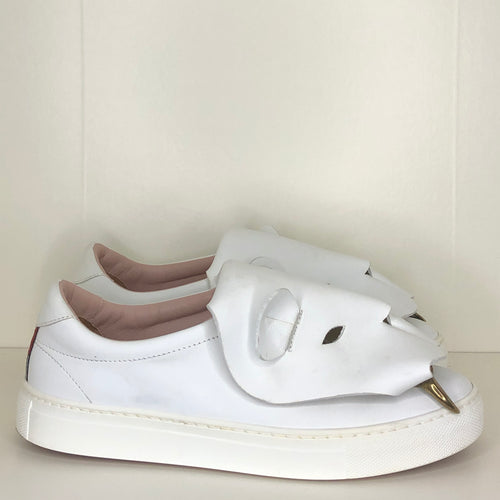 Vivienne Westwood Accessories Label Tiger Trainers in White Leather