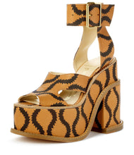 Load image into Gallery viewer, Vivienne Westwood Gold Label Clomper Slave Sandals in Tan Leather with Brown Squiggles
