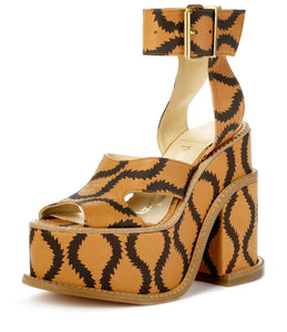 Vivienne Westwood Gold Label Clomper Slave Sandals in Tan Leather with Brown Squiggles