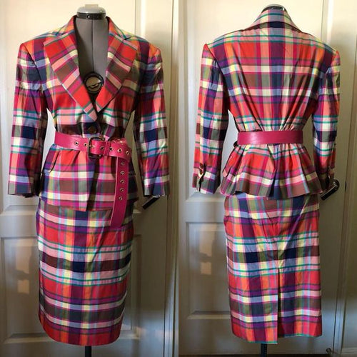 Vivienne Westwood Red Label Harlequin Print Princess Jacket and Pencil Skirt
