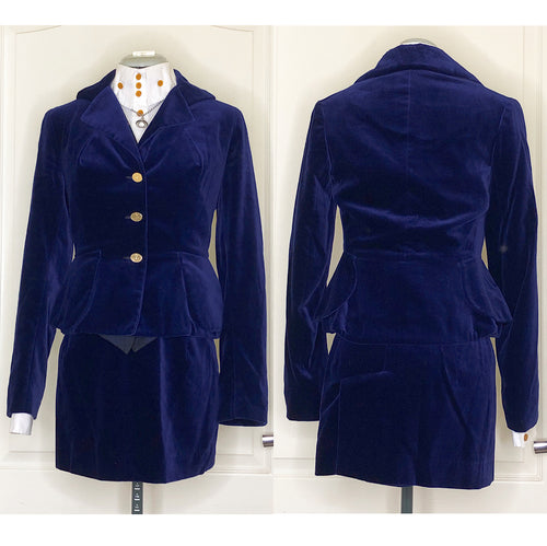 Vivienne Westwood Vintage 1993 Blue Velvet Bettina Jacket Skirt Suit