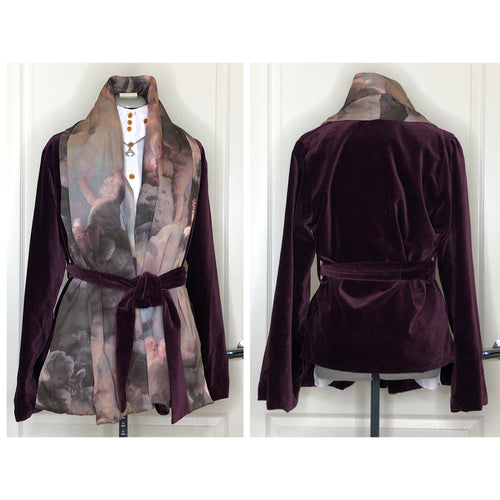 Vivienne Westwood Vintage 1991 Purple Velvet Scarf Coat with Fragonard Print Silk