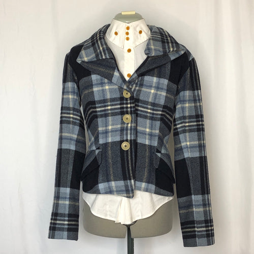 Vivienne Westwood Gold Label AW 2006-07 Blue Wool Tartan Alcoholic Jacket