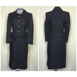 Vivienne Westwood Vintage AW 1999-2000 Black and Red Check Peplum Pockets Jacket Skirt Suit