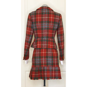 Vivienne Westwood Vintage 1991 Red Tartan Harris Tweed Love Jacket Suit Set