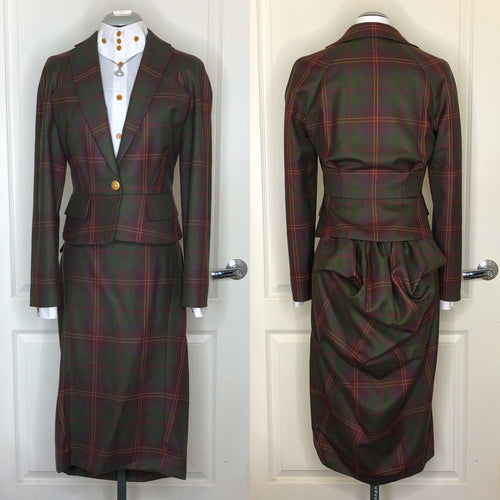 Vivienne Westwood Red Label AW 2008 Red Green Tartan Bustle Skirt Suit