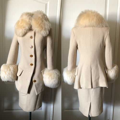 Vivienne Westwood Vintage 1990s Faux Fur Trim Cream White Wool Coat Skirt Suit Set