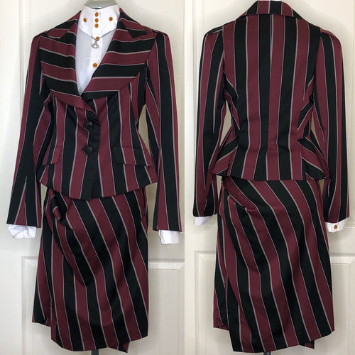 Vivienne Westwood Anglomania Burgundy and Black Striped Skirt Suit