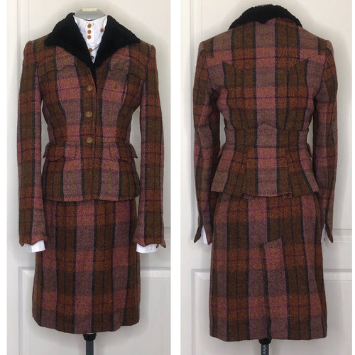 Vivienne Westwood Vintage 1990s Tweed Pink and Orange Tartan Check Skirt Suit