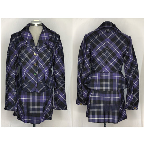 Vivienne Westwood Vintage 1994 McPoiret Purple Tartan Bettina Jacket And Micro Mini Skirt Suit Set