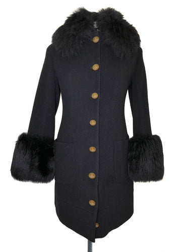 Vivienne Westwood Vintage 1990s Faux Fur Trim Black Wool Knee Length Coat