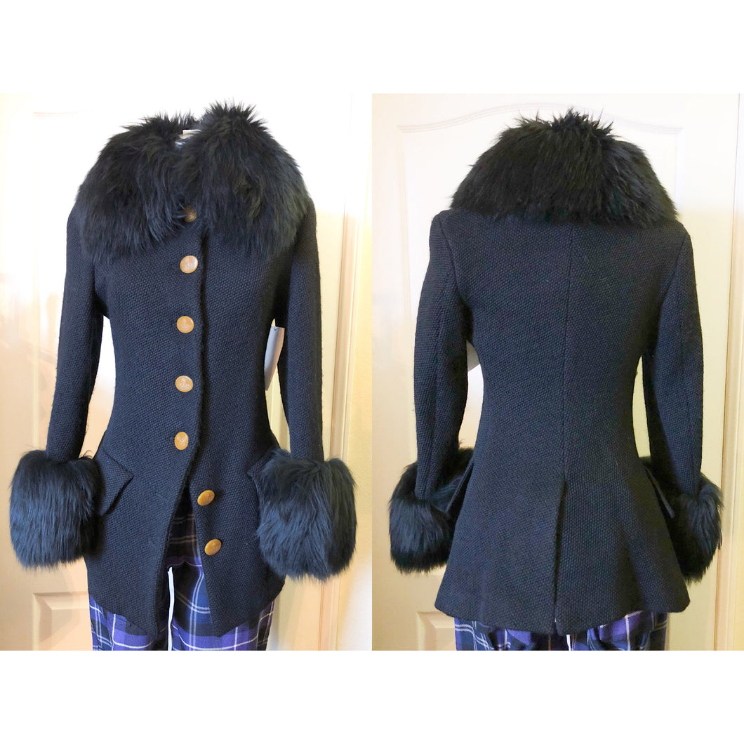 Vivienne Westwood Vintage 1990s Faux Fur Trim Black Wool Jacket