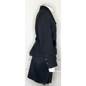 Vivienne Westwood Vintage 1996 Caped Jacket Skirt Suit in Dark Grey with Velvet Trim